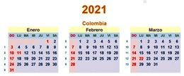 Calendario Colombia 2021